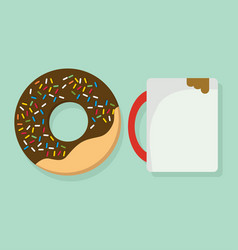 donut with coffee mug vector image
