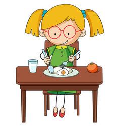 doodle girl charcter eating breakfast vector image