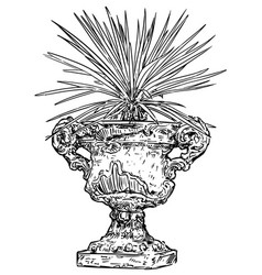 Drawing of old antique ornamental stone goblet or vector