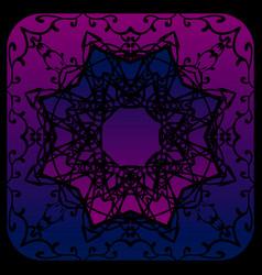 Elegant black octagonal mandala flower on purple vector