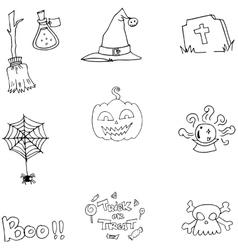 Element flat Halloween doodle vector