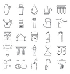 Filter water system icon set outline style vector