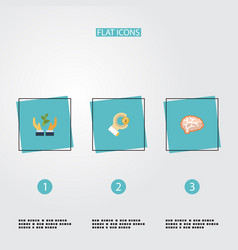 flat icons mind help coin and other vector image