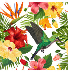 Floral tropical seamless pattern with hummingird vector