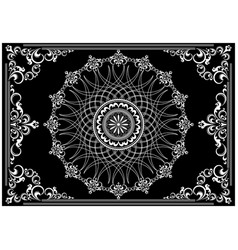 frame with white ornament on black background vector image