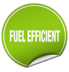 Fuel efficient round green sticker isolated on vector