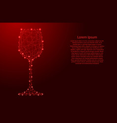glass of wine one from futuristic polygonal red vector image