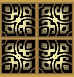 gold 3d checkered ornamental greek seamless vector image
