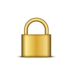golden lock 3d realistic closed padlock isolated vector image