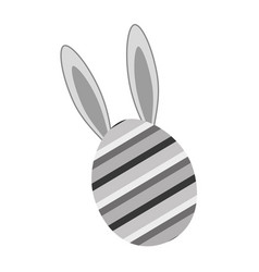 grayscale rabbit easter insite nice decorated egg vector image