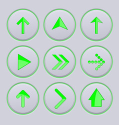 Green arrows on gray buttons 3d icons set vector