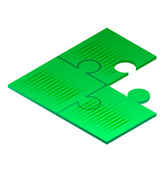 green puzzle icon isometric style vector image