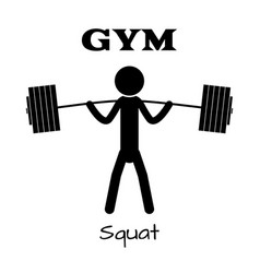 Gym squat icon human symbol flat eps app vector