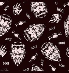 halloween monochrome vintage seamless pattern vector image