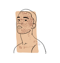 Hand-draw outline portrait a young man vector
