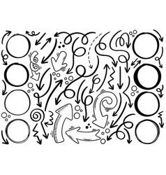 Hand drawn doodle arrows circle vector