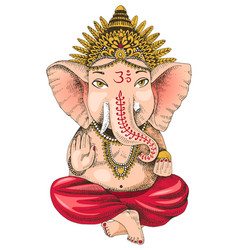 hand drawn ganesha indian god vector image