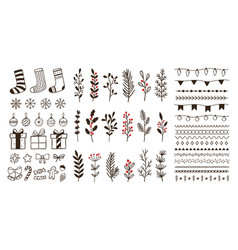 hand drawn ornamental winter elements doodle vector image