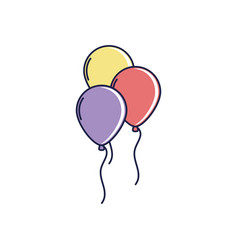 Happy birthday balloons decoration festive vector