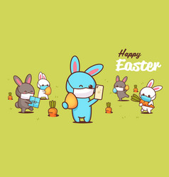Happy easter greeting card with rabbits wearing vector