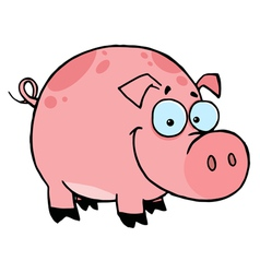 Happy smiling pink pig with spots vector