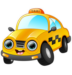 happy taxi cartoon isolated on white background vector image