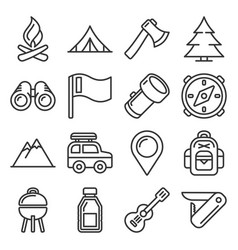 Hiking and camping icons set line style vector