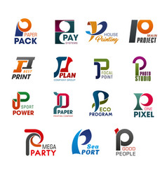 Icons and signs with letter p of abstract design vector