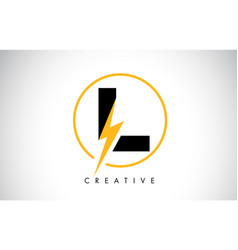 L letter logo design with lighting thunder bolt vector