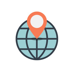 location on globe icon vector image
