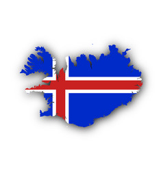 map and flag of iceland vector image