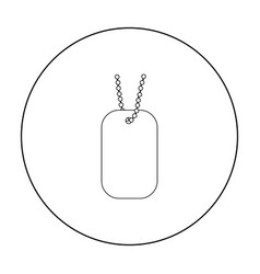 Metal tags hanging on a chain icon outline single vector