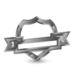 Mettalic shield with ribbon vector image