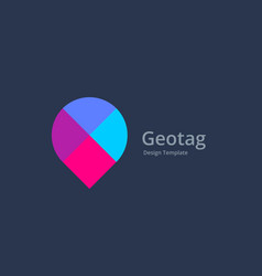 Mosaic geotag or location pin logo icon design vector