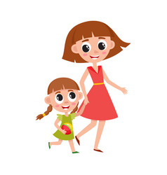 Mother and daughter little girl walking with mom vector