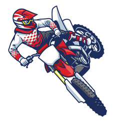 Motocross rider doing jumping whip trick vector