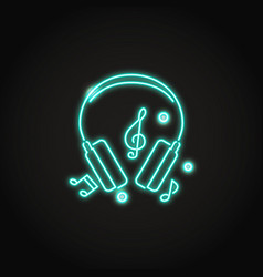 music headphones icon in glowing neon style vector image