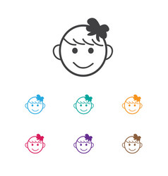 Of infant symbol on happy girl vector