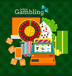 online gambling slot machine vector image