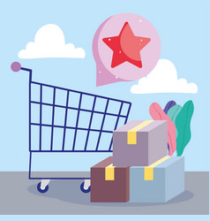 Online payment shopping cart delivery boxes vector