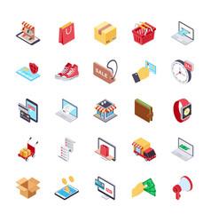 Online shopping flat set vector
