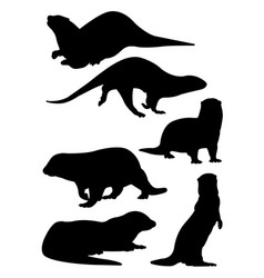 Otter animal mammal silhouette vector