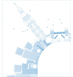 Outline London panorama with big ben and skyscrape vector image