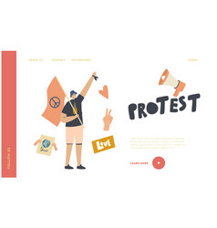 pacifist fighting for human rights on riot picket vector image