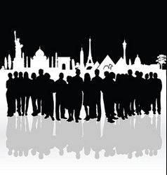 People silhouette front of famous monument vector