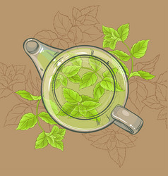 Peppermint tea in teapot vector
