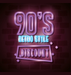 Poster nineties retro style with discount of vector