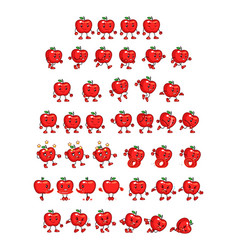 Red apple game sprites vector