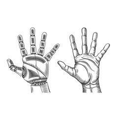 Robot and human hand sketch vector