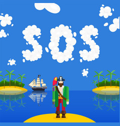 sailor crashed sos signal male character pirate vector image